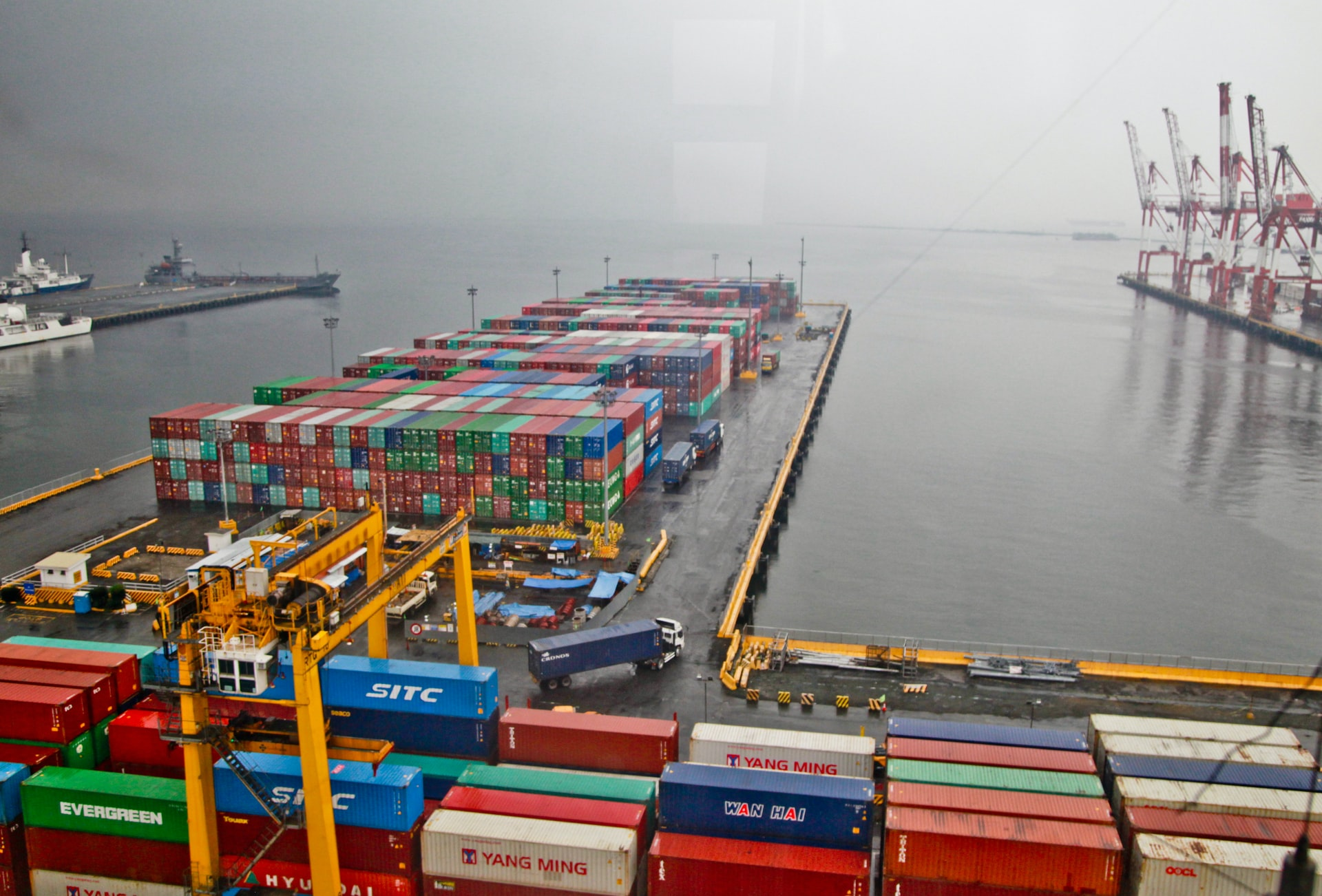 Container ship with goods