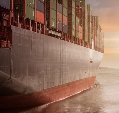 side of container ship